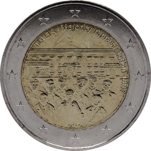 Rückseite :Malta : 2 Euro Mehrheitswahlrecht 1887  2012 bfr