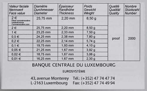 Zertifikat:Luxemburg : 7,88 Euro KMS Luxemburg inkl. 2 Euro Gedenkmünzen Guillaume und Euro Bargeld  2012 PP