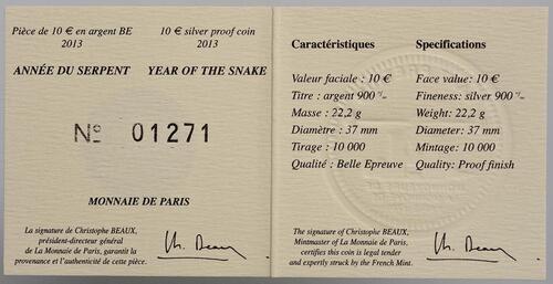 Zertifikat:Frankreich : 10 Euro Jahr der Schlange  2013 PP