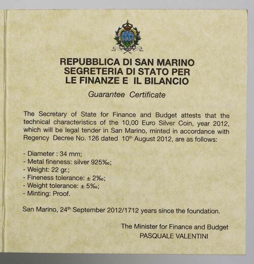 Zertifikat:San Marino : 10 Euro Aligi Sassu  2012 PP
