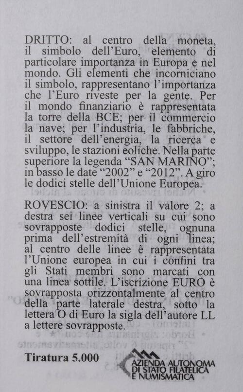 Zertifikat:San Marino : 5,88 Euro KMS San Marino mit 2 Euro Gedenkmünze 10 Jahre Euro Bargeld  2012 PP