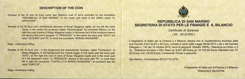 Zertifikat:San Marino : 70 Euro Set aus 20+50 Euro Architektonische Elemente San Marinos  2012 PP