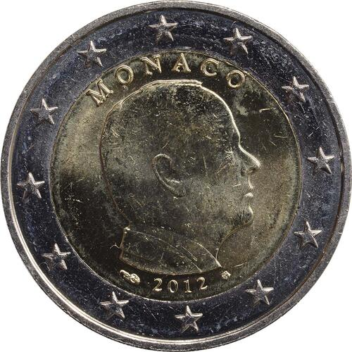 Rückseite:Monaco : 2 Euro Albert  2012 vz/Stgl.