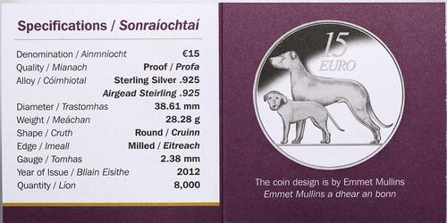 Zertifikat:Irland : 15 Euro Hund / Hound  2012 PP