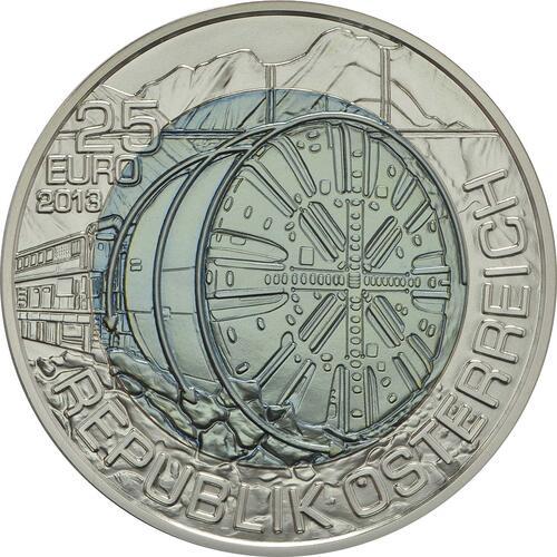 Rückseite:Österreich : 25 Euro Tunnelbau  2013 Stgl.