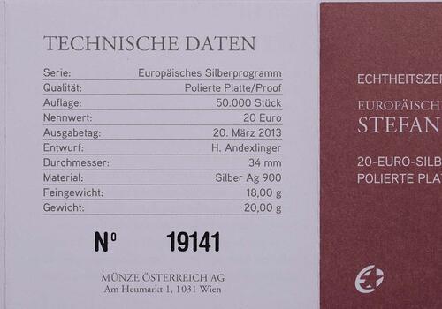Zertifikat:Österreich : 20 Euro Stefan Zweig  2013 PP