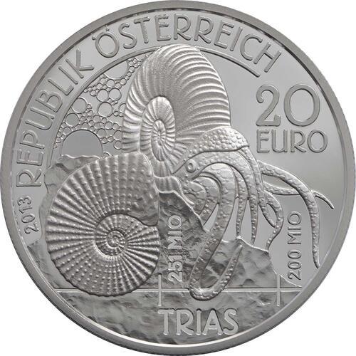 Rückseite:Österreich : 20 Euro Trias Leben im Wasser  2013 PP