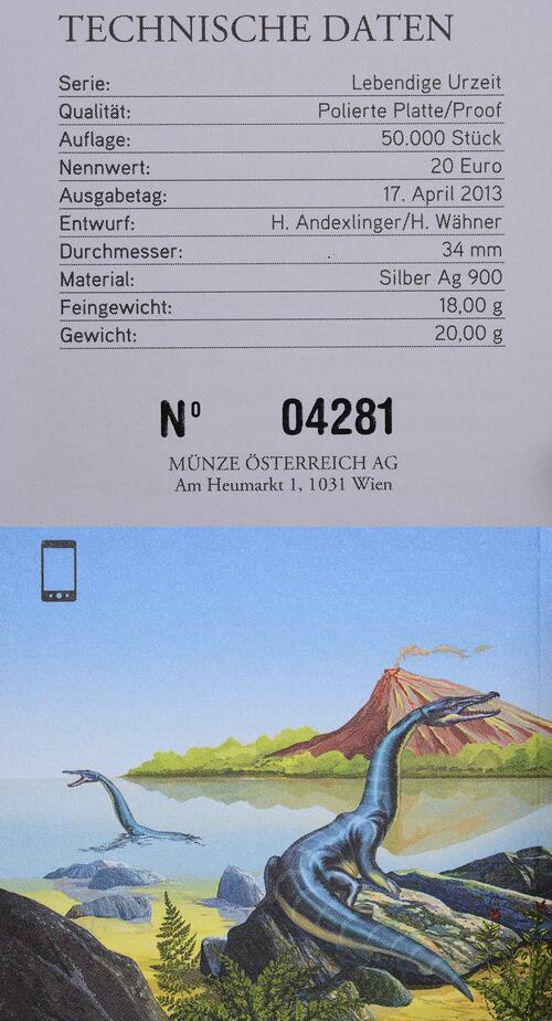 Zertifikat:Österreich : 20 Euro Trias Leben im Wasser  2013 PP
