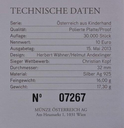 Zertifikat:Österreich : 10 Euro Niederösterreich  2013 PP