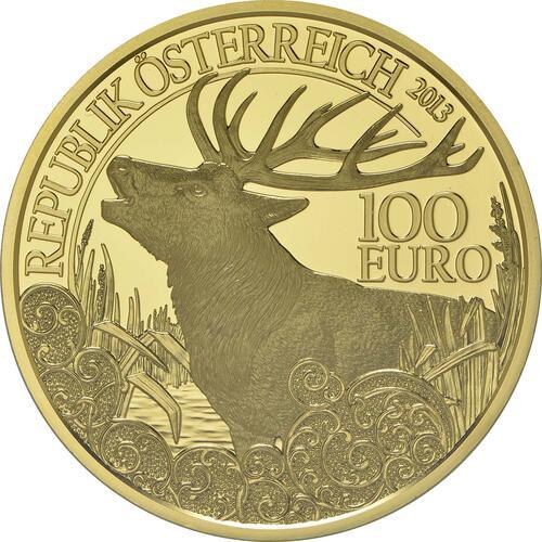 Vorderseite:Österreich : 100 Euro Rothirsch  2013 PP