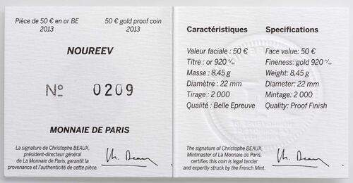 Zertifikat:Frankreich : 50 Euro Rudolf Nureyev - Tanz  2013 PP