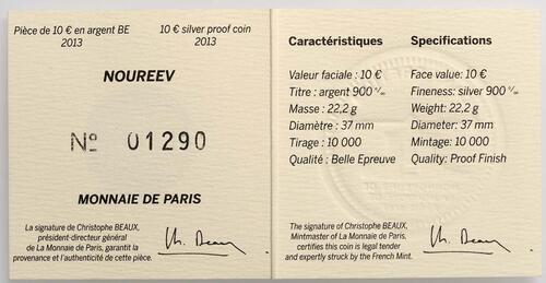 Zertifikat:Frankreich : 10 Euro Rudolf Nureyev - Tanz  2013 PP
