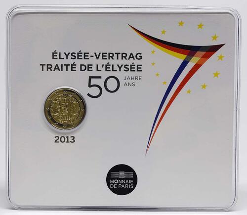 Lieferumfang :Frankreich : 2 Euro 50 Jahre Elysée-Vertrag  2013 Stgl.