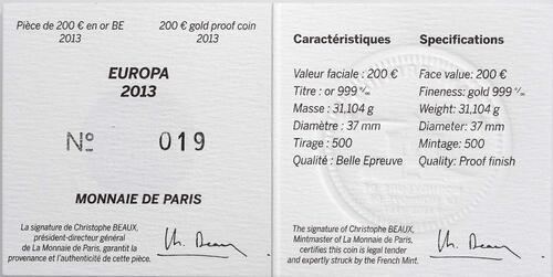 Zertifikat:Frankreich : 200 Euro 50 Jahre Elysée-Vertrag  2013 PP