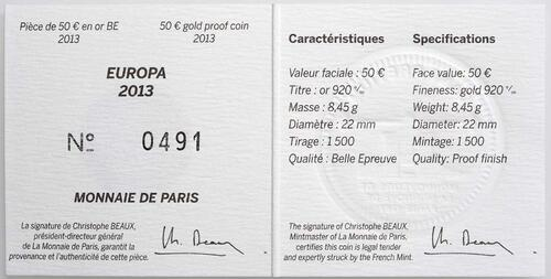 Zertifikat:Frankreich : 50 Euro 50 Jahre Elysée-Vertrag  2013 PP