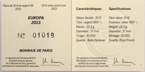 Zertifikat:Frankreich : 10 Euro 50 Jahre Elysée-Vertrag  2013 PP