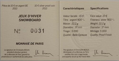 Zertifikat:Frankreich : 10 Euro Snowboard  2013 PP