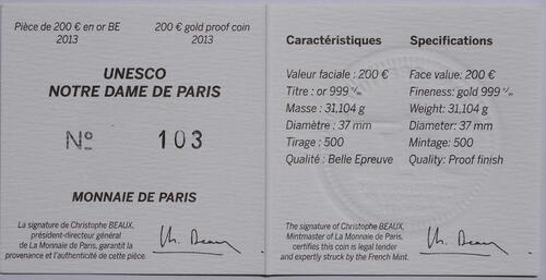 Zertifikat:Frankreich : 200 Euro Notre Dame  2013 PP