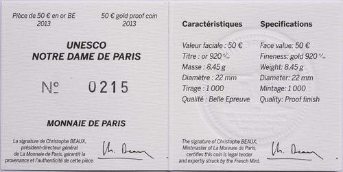 Zertifikat:Frankreich : 50 Euro Notre Dame  2013 PP