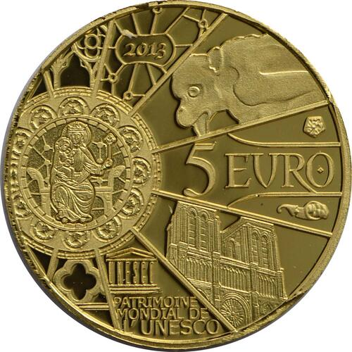 Rückseite:Frankreich : 5 Euro Notre Dame  2013 PP