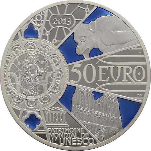 Rückseite:Frankreich : 50 Euro Notre Dame - farbig  2013 PP