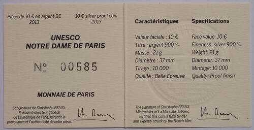 Zertifikat:Frankreich : 10 Euro Notre Dame - farbig  2013 PP