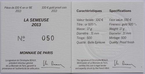 Zertifikat:Frankreich : 100 Euro MetalMorphoses - Pessac  2013 PP