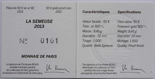 Zertifikat:Frankreich : 50 Euro MetalMorphoses - Pessac  2013 PP