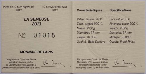 Zertifikat:Frankreich : 10 Euro MetalMorphoses - Pessac  2013 PP