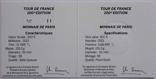 Zertifikat:Frankreich : 500 Euro Tour de France  2013 PP