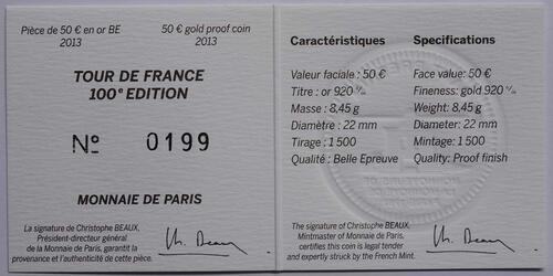 Zertifikat:Frankreich : 50 Euro Tour de France  2013 PP