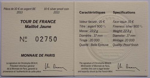 Zertifikat:Frankreich : 10 Euro Gelbes Trikot  2013 PP