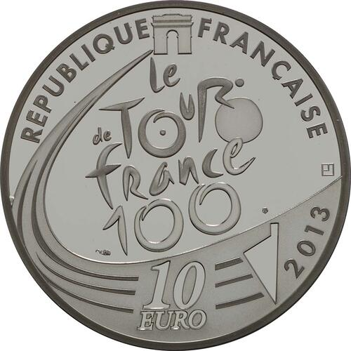 Rückseite:Frankreich : 10 Euro rot gepunktetes Trikot  2013 PP