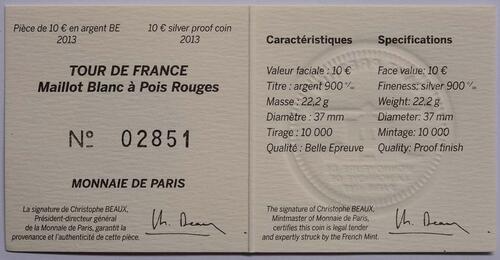 Zertifikat:Frankreich : 10 Euro rot gepunktetes Trikot  2013 PP