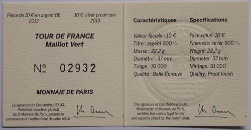 Zertifikat:Frankreich : 10 Euro grünes Trikot  2013 PP