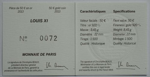 Zertifikat:Frankreich : 50 Euro Louis XI.  2013 vz/Stgl.