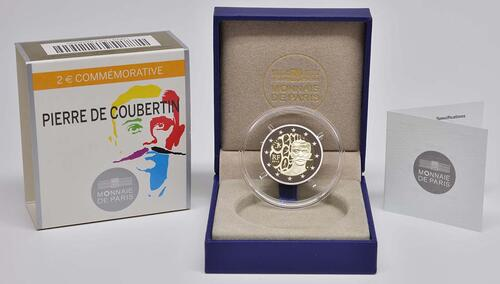 Lieferumfang :Frankreich : 2 Euro Pierre de Coubertin  2013 PP