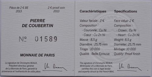 Zertifikat :Frankreich : 2 Euro Pierre de Coubertin  2013 PP