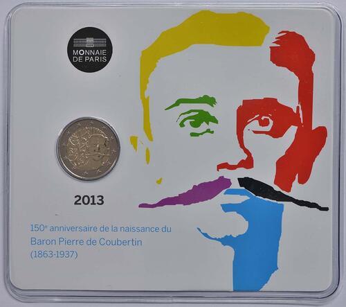 Lieferumfang :Frankreich : 2 Euro Pierre de Coubertin  2013 Stgl.