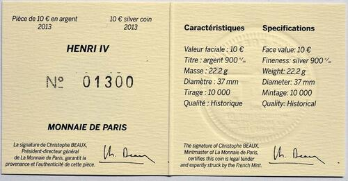 Zertifikat:Frankreich : 10 Euro Henri IV.  2013 Stgl.