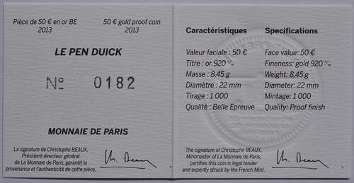 Zertifikat:Frankreich : 50 Euro Pen Duick  2013 PP
