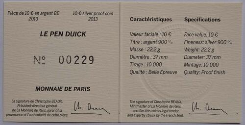 Zertifikat:Frankreich : 10 Euro Pen Duick  2013 PP
