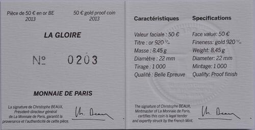 Zertifikat:Frankreich : 50 Euro La Gloire  2013 PP