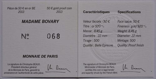 Zertifikat:Frankreich : 50 Euro Madame Bovary - EUROPASTERN  2013 PP