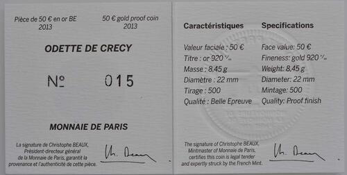 Zertifikat:Frankreich : 50 Euro Odette de Crécy  2013 PP