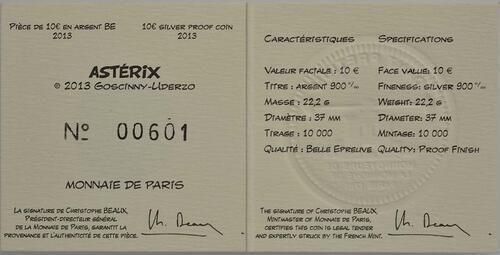 Zertifikat:Frankreich : 10 Euro Asterix  2013 PP
