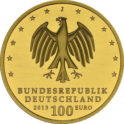 Rückseite :Deutschland : 100 Euro Gartenreich Dessau-Wörlitz Komplettset A,D,F,G,J 5 Münzen  2013 Stgl.