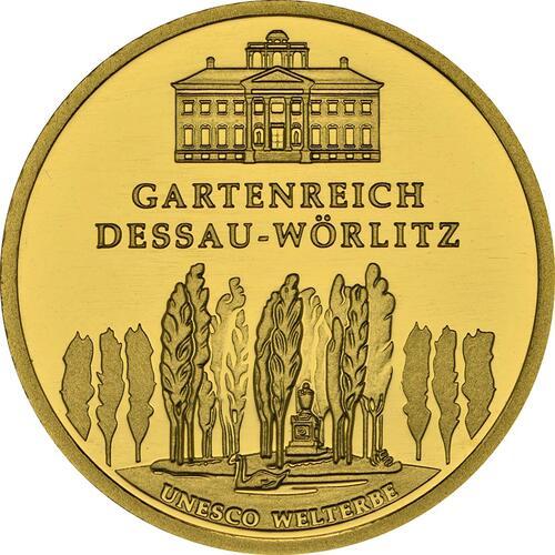 Vorderseite :Deutschland : 100 Euro Gartenreich Dessau-Wörlitz Komplettset A,D,F,G,J 5 Münzen  2013 Stgl.