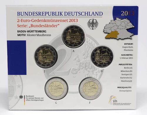 Lieferumfang :Deutschland : 2 Euro Baden Württemberg - Zisterzienserkloster Maulbronn Komplettsatz 5x2 Euro  2013 bfr