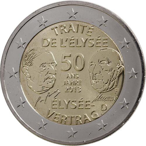 Rückseite:Deutschland : 2 Euro Elysée-Vertrag  2013 Stgl.
